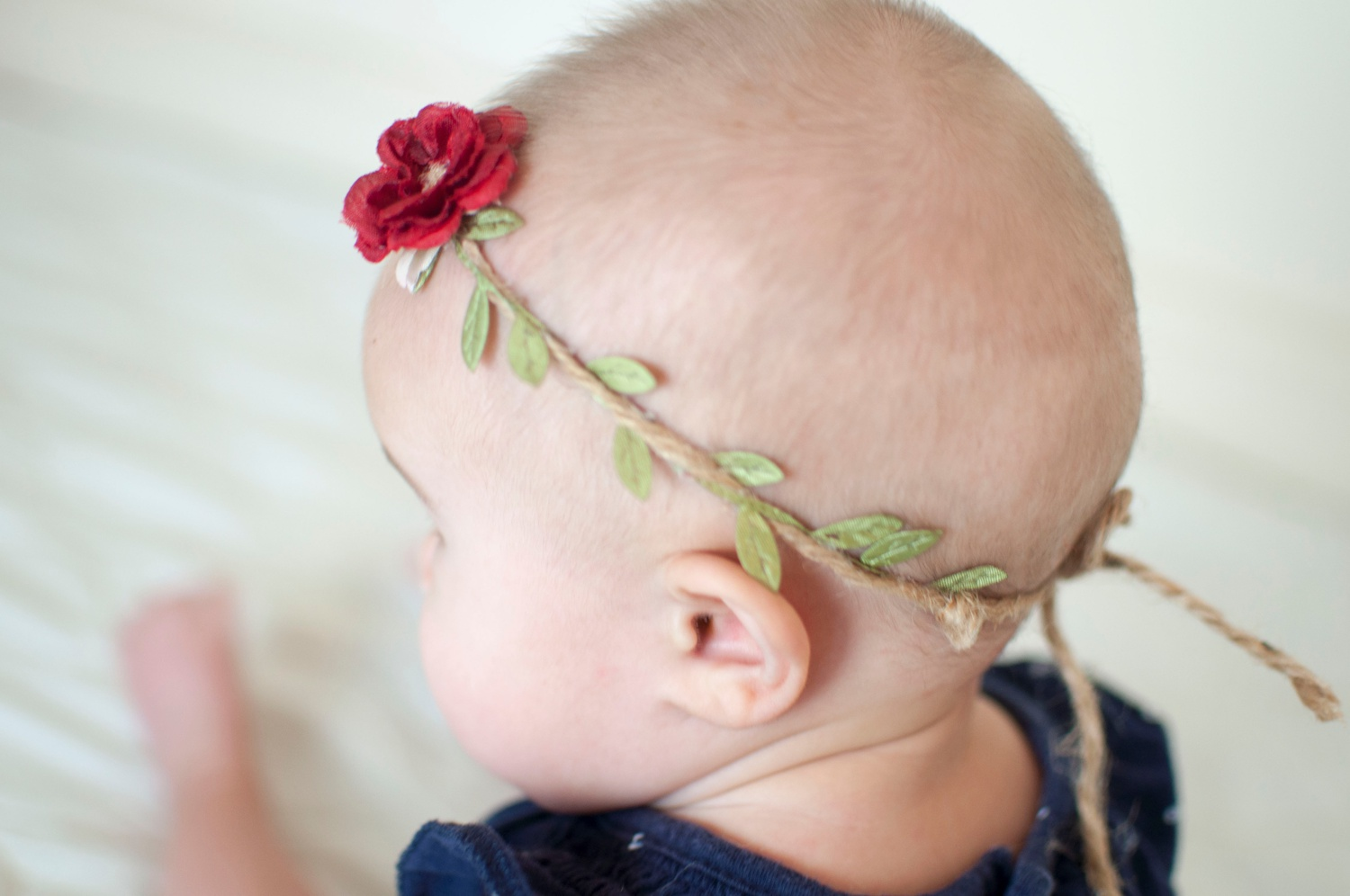 red rose and green leaf infant headband product photography